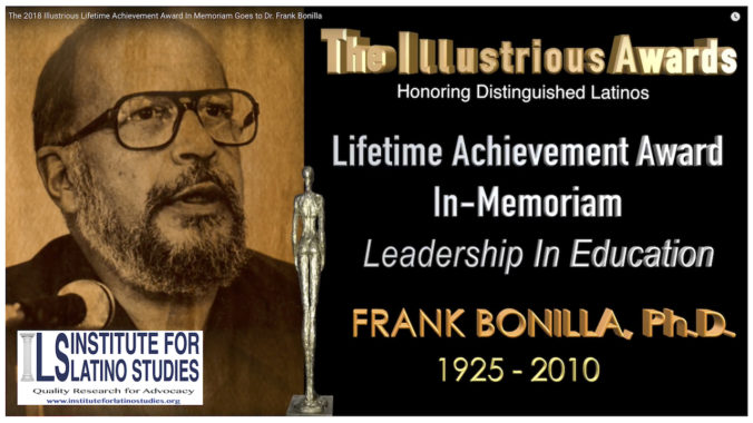 Slate Frank Bonilla Illustrious Lifetime Achievement Award